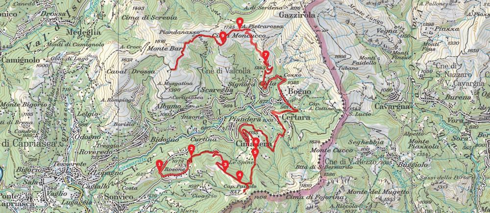 Karte Capanna Monte Bar