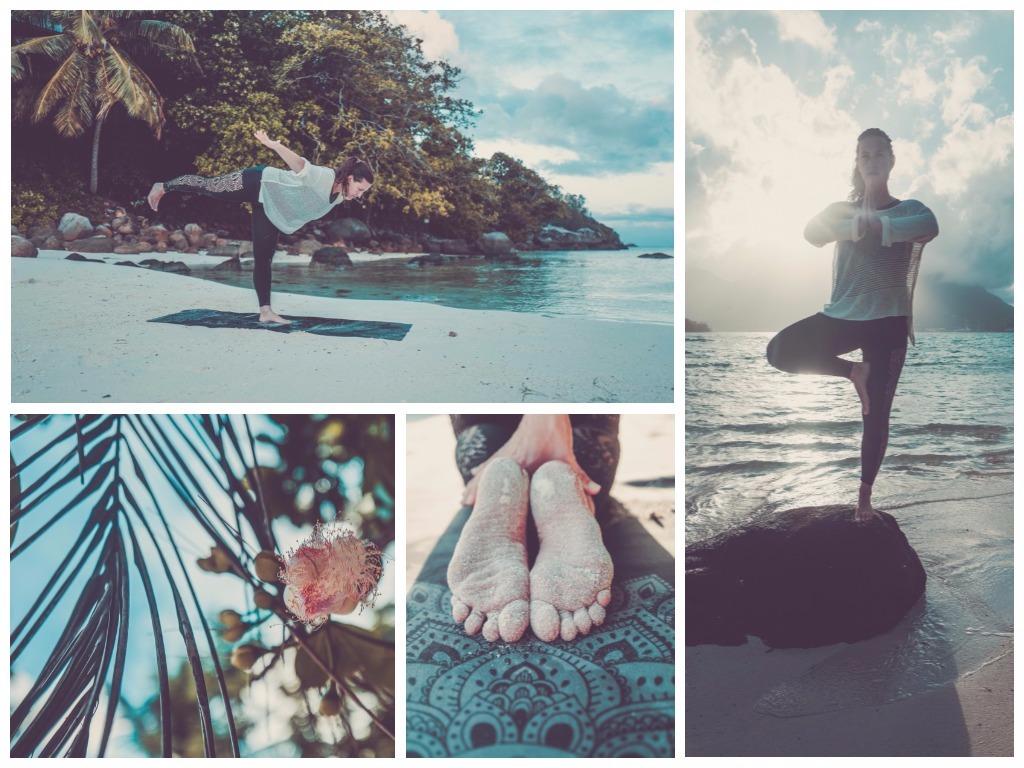 YOGA DESIGN LAB Seychellen Yoga am Strand unter Palmen