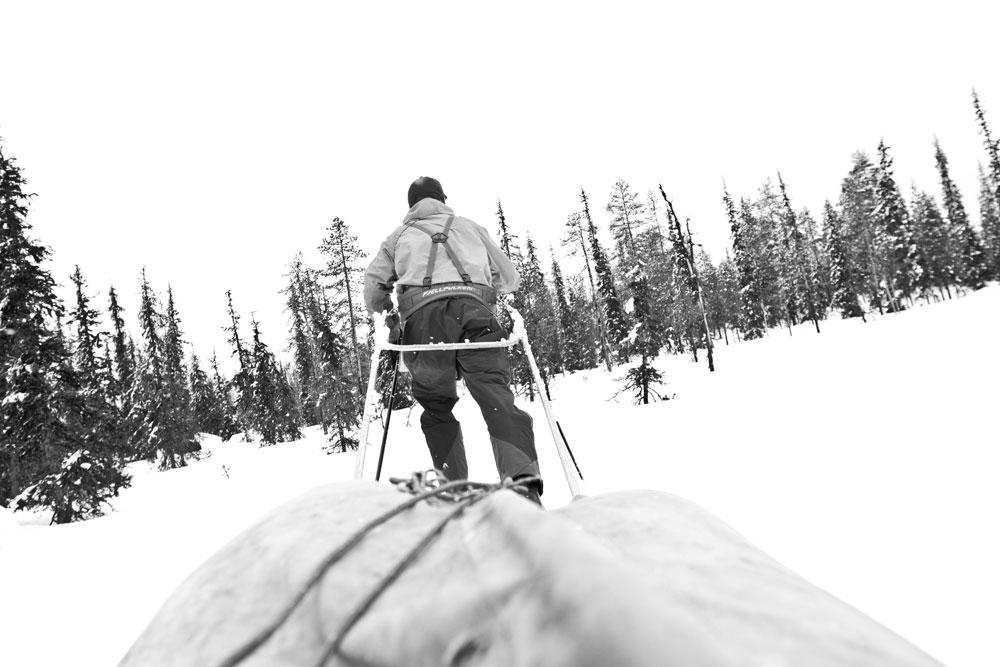 Unterwegs mit der Pulka in der finnischen Wildnis.
