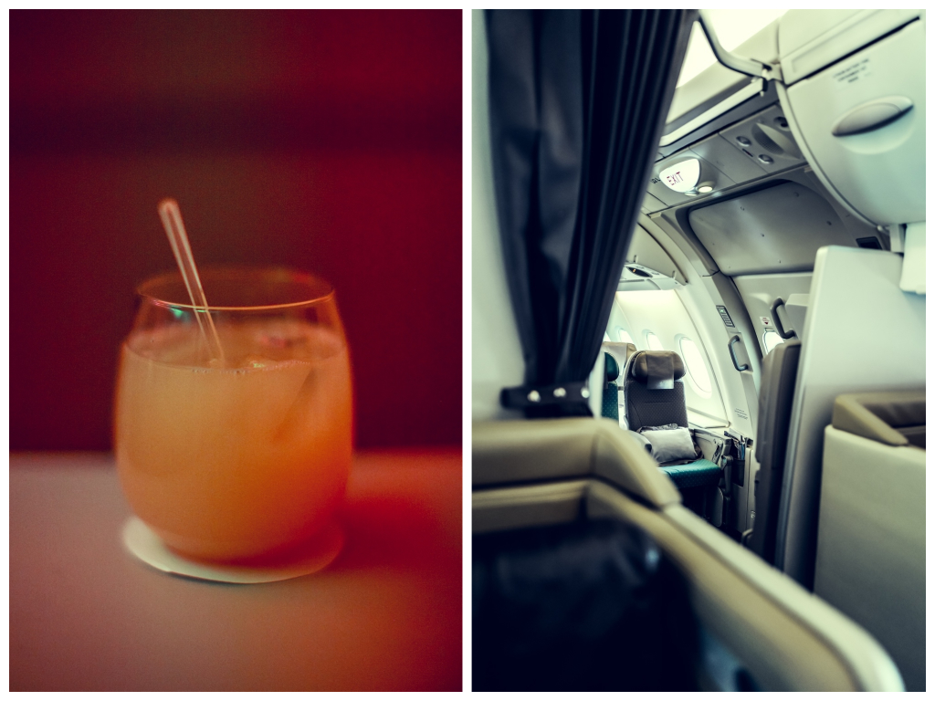 Business Class von Singapore Airlines mocktail